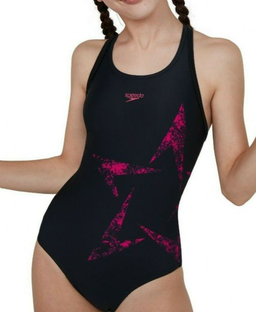 SPEEDO GIRLS SWIMSUIT.BOOMSTAR PLACEMENT BLACK PINK SWIMMING COSTUME SCHOOL S20